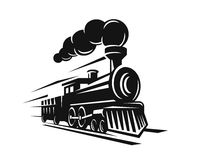 Vector retro trein royalty-vrije illustratie