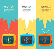 Vector retro tv option banner. Flat Design Royalty Free Stock Photography