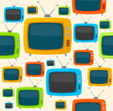 Vector retro tv seamless pattern. Flat Design Stock Image