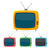 Vector retro tv set. Flat Design Stock Photo