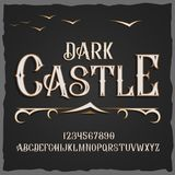Vector retro typeface. Vector font Dark Castle Stock Image