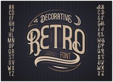 Vector retro typeface. Vector font Royalty Free Stock Photography