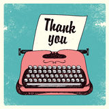 Vector retro typing writer, thank you card Royalty Free Stock Images