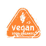 Vector retro vegan teal vintage stamp for quality mark. Royalty Free Stock Photography