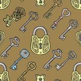 Vector Retro- Verschlussillustration der Schlüsselskizze der weinlese alten des Verschlusses vom antiken Trapezfehlerschlüsselloc lizenzfreie abbildung