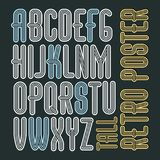 Vector retro vintage capital English alphabet letters collection. Funky tall font, typescript can be used in art creation. Created using triple stripy Stock Photography