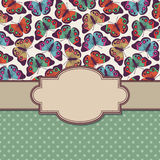 Vector retro vintage frame with butterflies Royalty Free Stock Photo