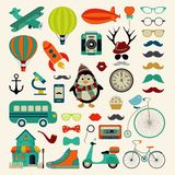 Vector Retro Vintage Hipster Icon Set. Royalty Free Stock Image