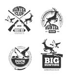 Vector retro vintage hunting labels, emblems, logos, badges. Hunting logotype, duck and deer, hunting hobby, hunting sport illustration Stock Photos