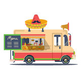 Vector retro vintage mexican flat food truck. Illustration on white background Royalty Free Stock Images