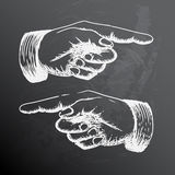 Vector retro Vintage pointing hand drawing Royalty Free Stock Photo
