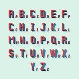 Vector retro volumetric 3d alphabet. Typography alphabet abc, lettering with shadow illustration Royalty Free Stock Image
