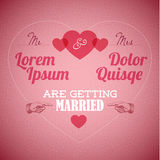 Vector Retro Wedding invitation with hearts Stock Images