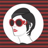 Vector retro woman sun glasses Stock Images