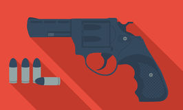 Vector revolver. Vector cartoon revolver with long shadows Stock Photo