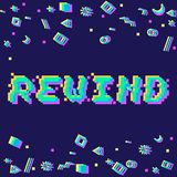 Vector rewind pixel glitch. Vector rewind phrase in pixel art 8 bit style with glitch VHS effect. Three color half-shifted letters. Ocassional pixels and Royalty Free Stock Photography