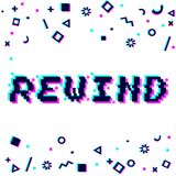Vector rewind pixel glitch. Vector rewind phrase in pixel art 8 bit style with glitch VHS effect. Three color half-shifted letters. Ocassional pixels and Stock Photo