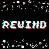 Vector rewind pixel glitch. Vector rewind phrase in pixel art 8 bit style with glitch VHS effect. Three color half-shifted letters. Ocassional pixels and Royalty Free Stock Image