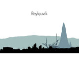 Vector Reykjavik skyline silhouette. stock illustration