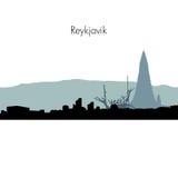 Vector Reykjavik skyline silhouette. Reykjavik Iceland City skyline silhouette. Vector illustration Stock Image