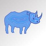 Vector rhino rhinoceros animal mammal cartoon wild nature horn Stock Photography