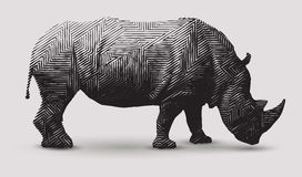 Vector Rhinoceros llustration. Vector rhinoceros illustration. Polygon shape line art Royalty Free Illustration