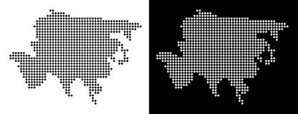 Dot Asia Map. Vector rhombic pixel Asia map. Abstract geographic maps in black and white colors on white and black backgrounds. Asia map combined of rhombic royalty free illustration