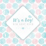 Vector rhombus frame on background, made of circle flowers. Pink and blue colors. New baby born. It`s a boy Stock Photo