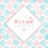 Vector rhombus frame on background, made of circle flowers. Pink and blue colors. New baby born. It`s a girl Royalty Free Stock Images