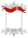 Vector ribbon. The red ribbon and a floral frame Stock Images