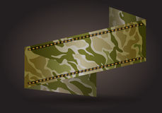 Vector ribbon banner with camouflage fabric pattern Stock Photo