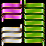 Vector ribbon frames set. Green, purple and white Royalty Free Stock Image