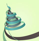 Vector Ribbon Role. Paper ribbons curving in the shape of Christmas tree Royalty Free Stock Image