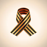 Vector Ribbon of Saint George. Black and gold stripes ribbon Royalty Free Stock Photography