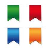 Vector Ribbon set - red, blue, green, orange Stock Photo