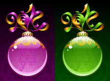 Vector ribbon in the shape of 2014 and glass ball. Christmas and New Year circle frame. Vector ribbon in the shape of 2014 and glass ball. Purple and green stock illustration