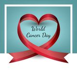 Vector ribbon in the shape of heart. World Cancer Day. Valentine s Day stock illustration