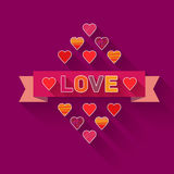 Vector ribbon with the word love. Valentine's Day royalty free illustration