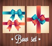 Vector  Ribbons And Bows Set Illustration. colorful gift bows with ribbons Stock Photos