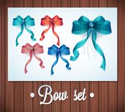 Vector  Ribbons And Bows Set Illustration. colorful gift bows with ribbons Royalty Free Stock Photos