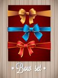 Vector  Ribbons And Bows Set Illustration. gift bows with ribbons Royalty Free Stock Photo