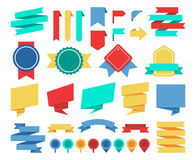 Vector ribbons and labels flat set royalty free illustration