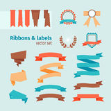 Vector ribbons and labels Stock Photography