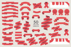 Vector Ribbons. Set of 50 ribbons Stock Photo