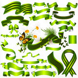 Collection of vector green ribbons and banners for design Royalty Free Stock Photos