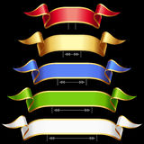 Vector Ribbons set isolated on black background Stock Photo