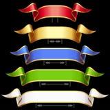 Vector Ribbons set isolated on black background stock illustration