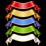 Vector Ribbons Set Isolated On Black Background Stock Images