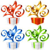 Vector ribbons in the shape of 2013 and gift box. Vector red, golden, blue and green ribbon set in the shape of 2013 and gift box. Symbol of New Year Stock Photos