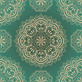 Vector, rich, seamless background with symmetrical mandalas Royalty Free Stock Images